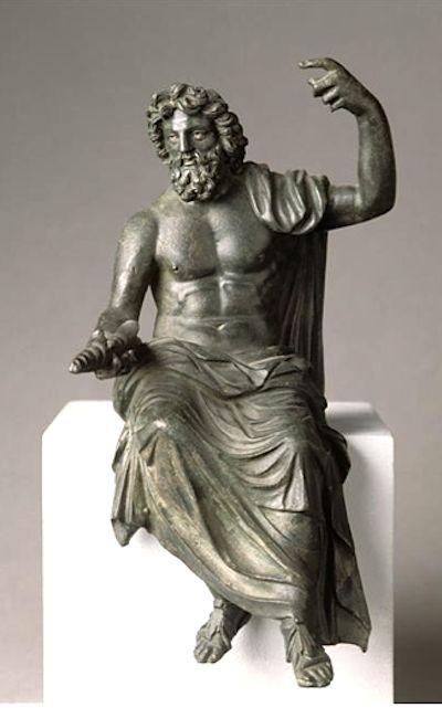 Júpiter (Zeus), Romano estatuilla (bronce), inspirado en original de Fidias, 1ro-2do siglo AD (5ª originales c. C.), (Museo del Louvre, París).