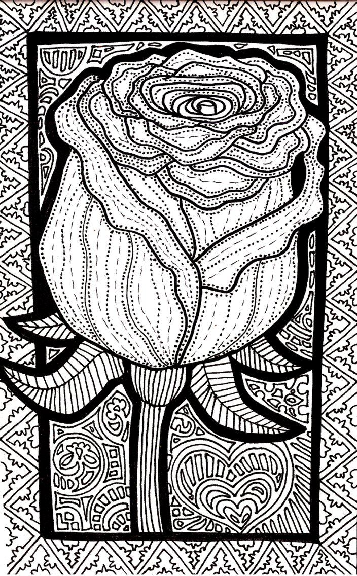 Disney zentangle coloring pages - Lines Of The Rose By Iguruwashi Devianrtart Coloringpage