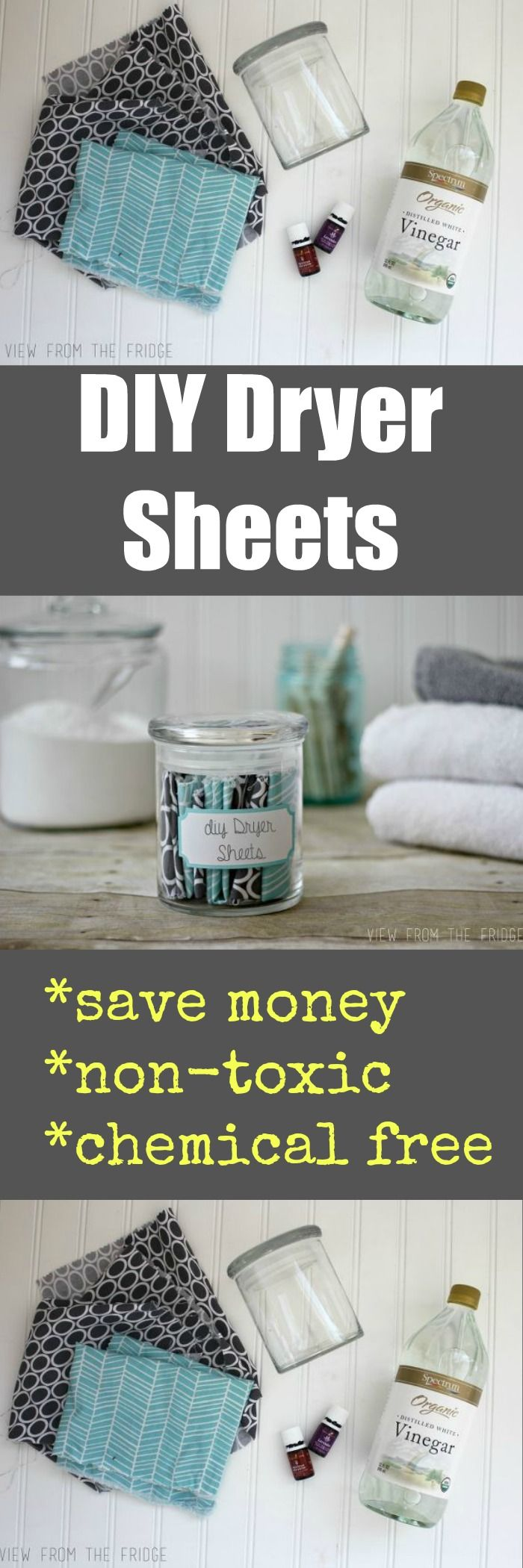 Do you know how many awful chemicals are in commercial, store bought dryer sheets?!? Way too many. It's SO easy to make your own, and they work great! You can even customize your own scent!