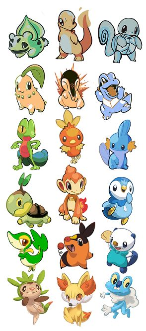 Pokemon - Bulbasaur, Charmander, Squirtle, Chikorita, Cyndaquil, Totodile, Treecko, Torchic, Mudkip, Turtwig, Chimchar, Piplup, Snivy, Tepig, Oshowatt, Chespin, Fennekin,  Froakie