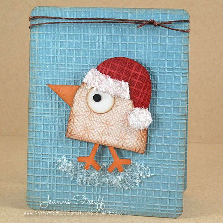 Could this little birdie be any cuter? This fabulous and quick card is by Jeanne Streiff and is on the blog today: http://sizzixblog.blogspot.com/2012/12/merry-cluckmas-quick-easy-card.html