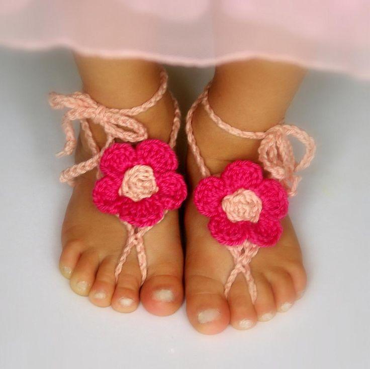 Baby Barefoot Flower Sandals Free Crochet Pattern