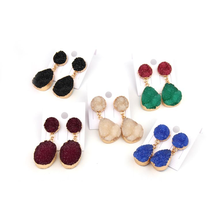 1Pair European Style Female Piercing Earings For Women Jewelry Gift Gold Plated Trendy Resin Stud Earings Earstud