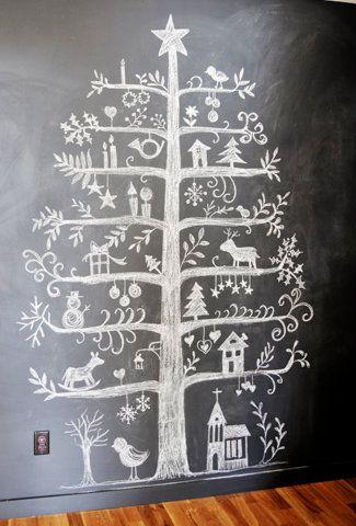 Chalkboard Christmas mural