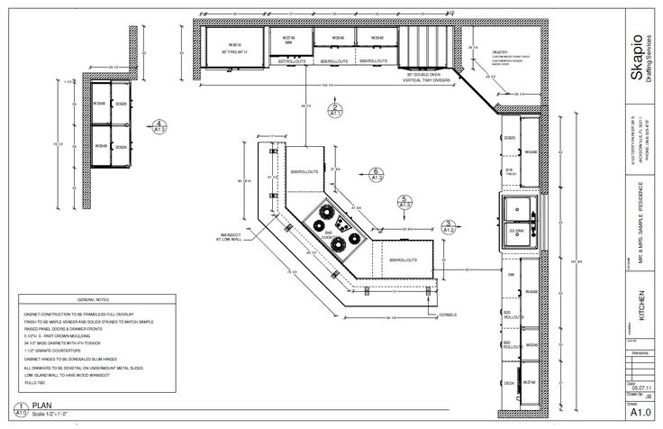 Sample kitchen floor plan shop drawings pinterest for Kitchen floor plans with island and walk in pantry