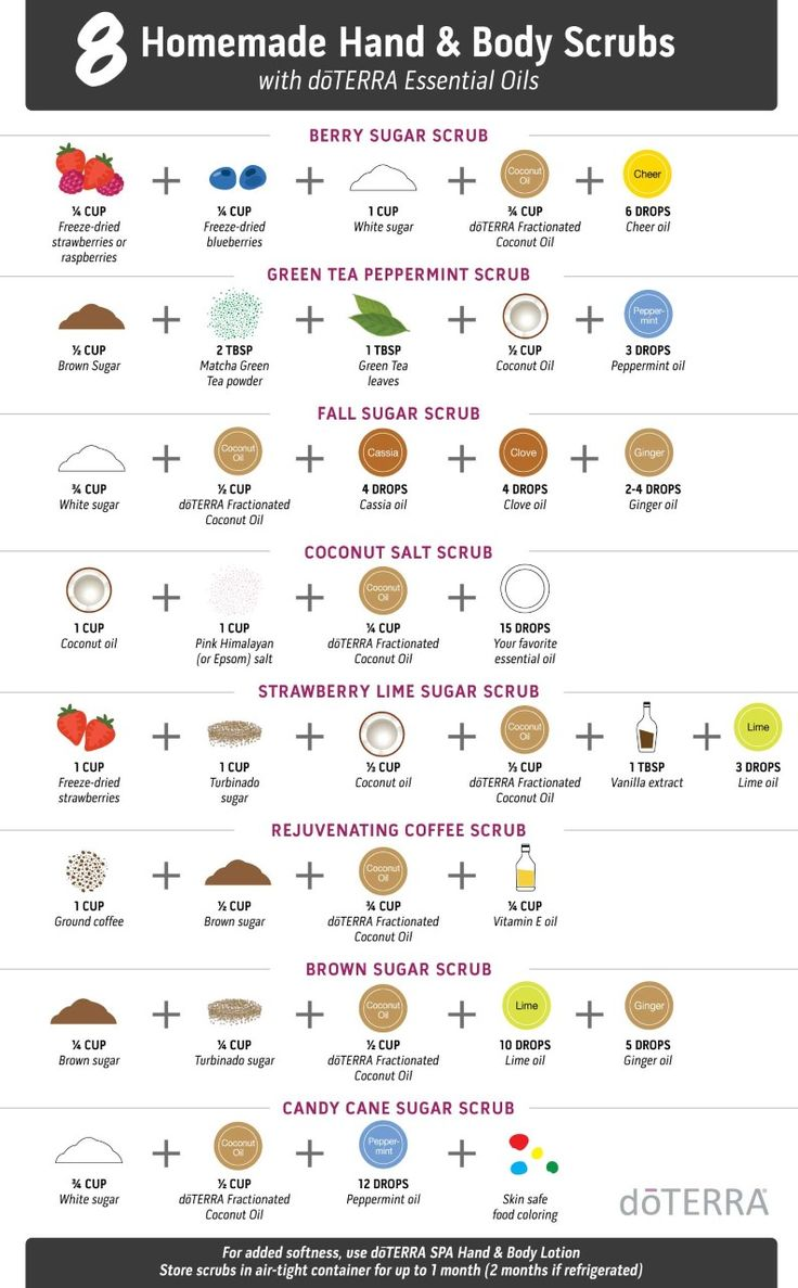8 Homemade Hand & Body Scrubs using doTERRA essential oils! These will leave your skin feeling hydrated and smooth.
