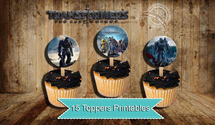Transformers, Toppers Transformers, Birthday transformers, Transformers party, Toppers Cupcake transformers, the last knight de Dulcestriplea en Etsy