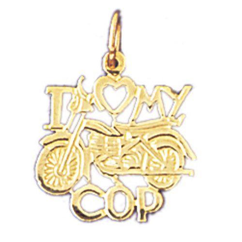 14K GOLD SAYING CHARM - I LOVE MY COP #10919