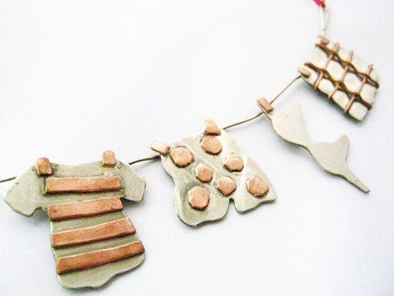 Funny jewelry : Laundry Day  Statement necklace by PikipokaJewelry