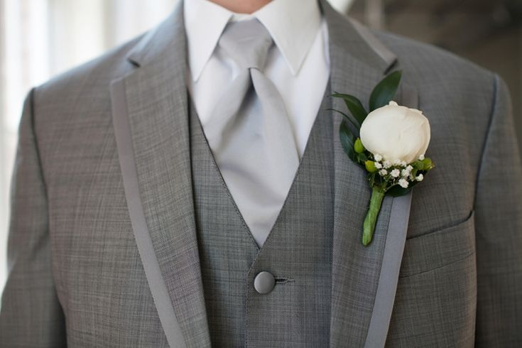 White peony boutonniere // photo by Courtney Dox Photography