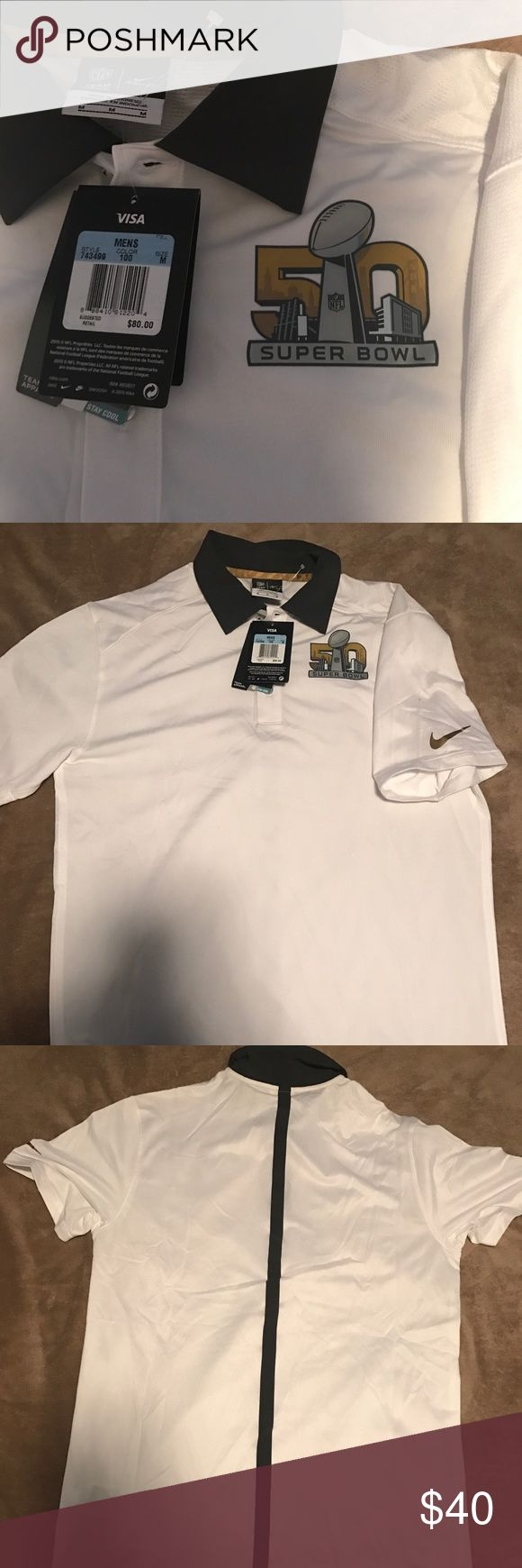Nike NFL Superbowl 50 Dri Fit Polo Shirt Brand new with tags still. Limited edition Nike Dri Fit superbowl 50 Polo. With all tags still on . Suggested retail is $80 Nike Shirts Tees - Short Sleeve