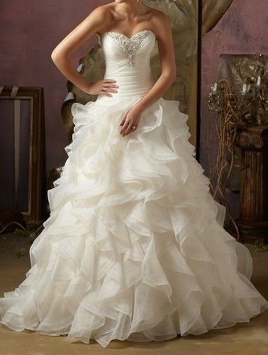 2013 sweetheart Organza Wedding Gown dress lace-up size 6 8 10 12 14 16 18 20++