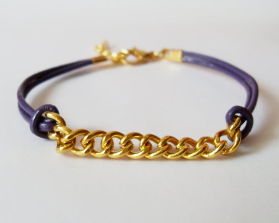 My DIY: Violet Leather Chain Bracelet by starryday: Leather Chain