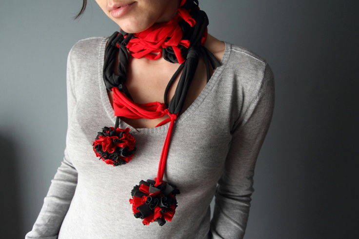 Loop SCARF NECKLACE in black and red with pon-pon. $15.00, via Etsy.