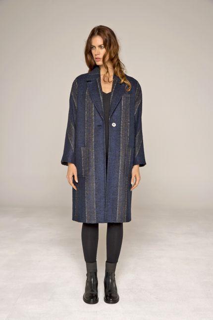 Manteau esprit pardessus mi-long à rayures fondues #manteaux #femme #rayures #bleu #milong  #qualité #lenerfabriquedemanteaux