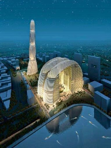 A Futuristic building design aglow in Dubai