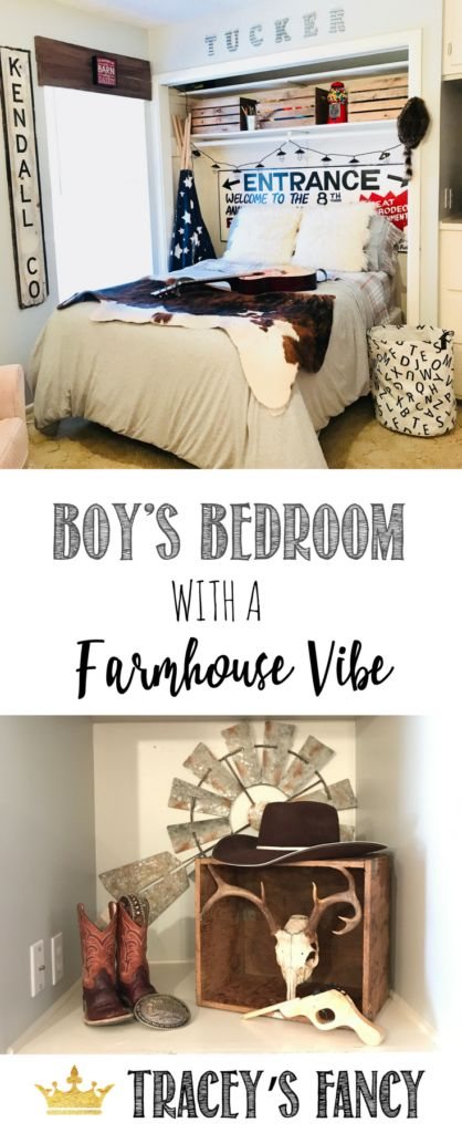 Boys Bedroom with a Farmhouse Vibe by Tracey's Fancy   Boys Bedroom Ideas   Country Themed Bedroom   Western Bedroom