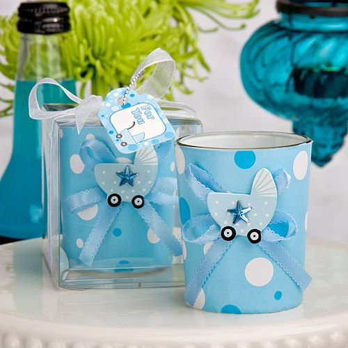 Baby Blue Carriage Candle Holders
