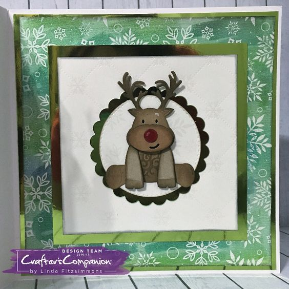 """8x8"""" card made using Sara Signature Cute Christmas Collection – Red Nose Reindeer die Designed by Linda Fitzsimmons #crafterscompanion"""