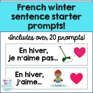 French winter prompts! Can be used as oral communication prompts, or writing prompts! Great for French Immersion or Core French!