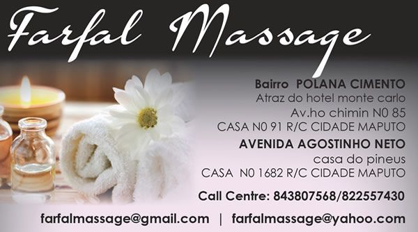 BUSINESS CARD DESIGN >> Farfal Massage (Maputo - Mozambique) Created by Design so Fine