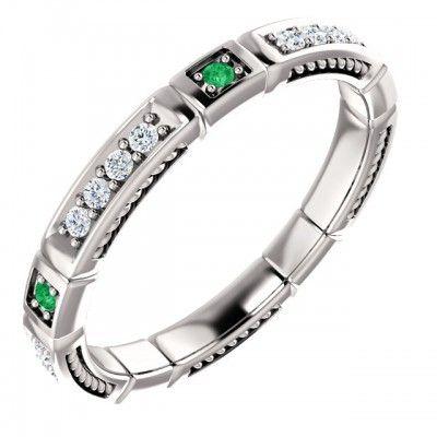 Platinový zásnubný prsteň osadený Smaragd / Guľatý - https://www.smgold.sk/p/1680/mszpl004