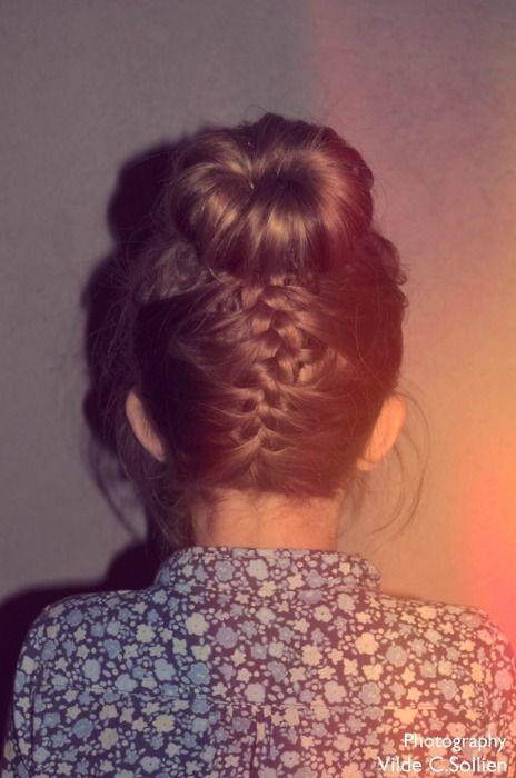 braid and bun. cute.