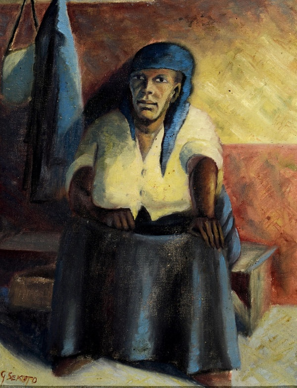 This picture by Gerard Sekoto, South Africa's leading black artist, sold for £79,250. For anyone going into exile there are many costs, loss of contact with one's culture, one's language, one's family and the places of one's youth and childhood. Among these, the loss of direct contact with one's parents, and in particular with one's mother, is perhaps the most difficult.