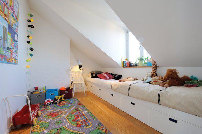 Möblera barnrum med snedtak - inspiration - Förvaringsdrottningen