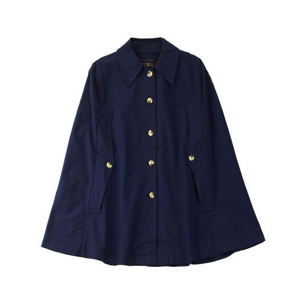 A.P.C. Madras Canvas Cape (1.945 ARS) ❤ liked on Polyvore featuring outerwear, jackets, coats, cape, casacos, blue cape coat, blue cape and cape coat