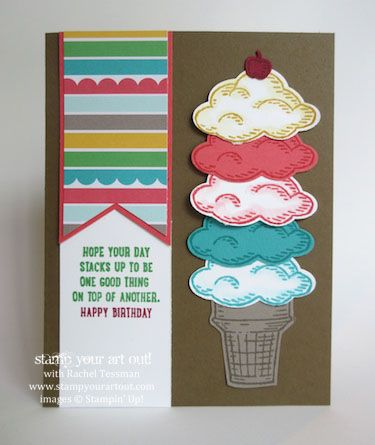 Fun ice cream cone birthday card made with Sprinkles of Life stamp set… #stampyourartout #stampinup - Stampin' Up! - Stamp Your Art Out! www.stampyourartout.com