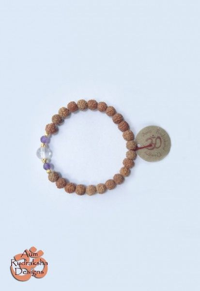 Amethyst, Quartz Crystal stones and Gold Plated Sterling silver beads #aum #rudraksha #beads #bracelet #jewellery #silver #quartzcrystal #amethyst #stones #gems #crystals #bali