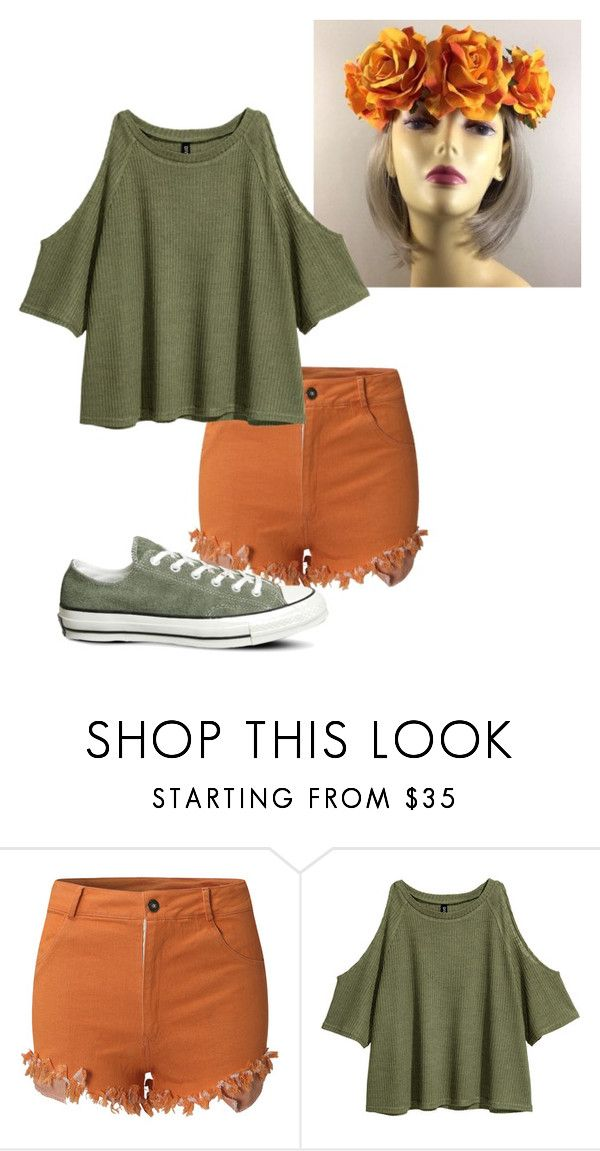 """Orange Flower Crown Outfit"" by phangirl888 ❤ liked on Polyvore featuring H&M and Converse"