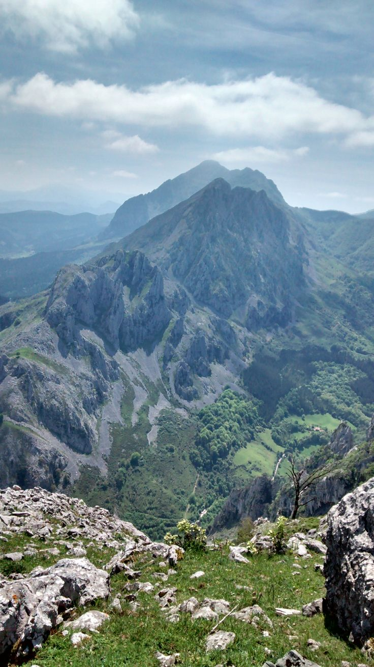 """Aitxiki in the front and Alluitz in the back, on the Urkiola mountain range. View from top of Untzillaitz (""""Aitz"""" means """"Rock"""" in Basque)"""