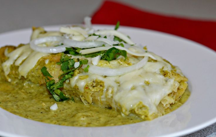 Homemade Enchiladas Verdes. These are creamy, delicious, and the salsa is much better than store-bought! You are going to love this.