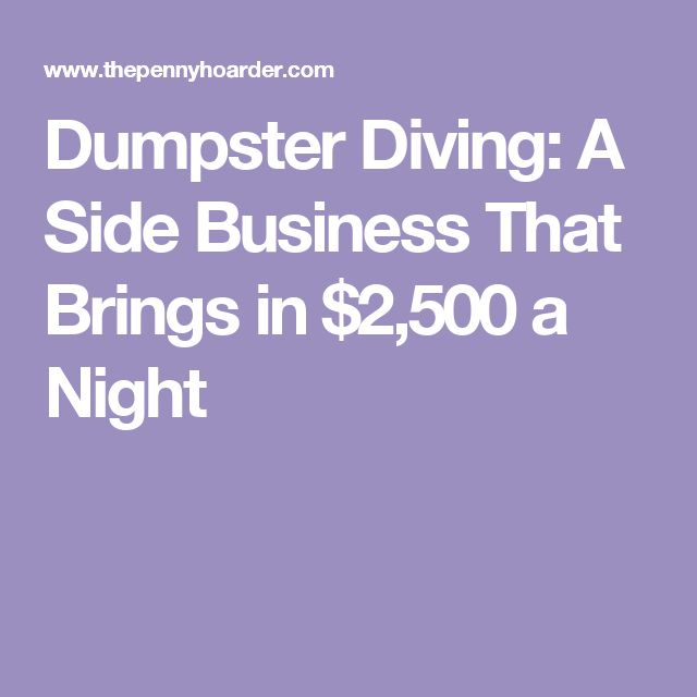 Dumpster Diving: A Side Business That Brings in $2,500 a Night