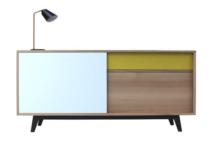 61265 buffet 3 portes coulissantes collection vintage retro ann e 50 ch ne blanchi bois massif - Pirotais meubles ...