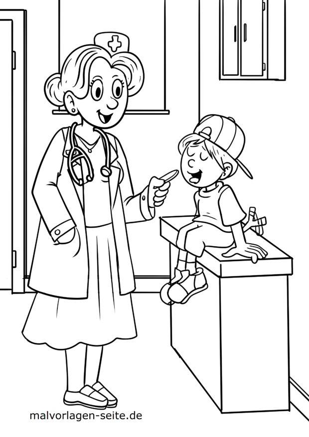 malvorlage arzt Ärztin  kostenlose ausmalbilder