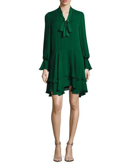 Moore V-Neck Layered Tunic Dress, Green