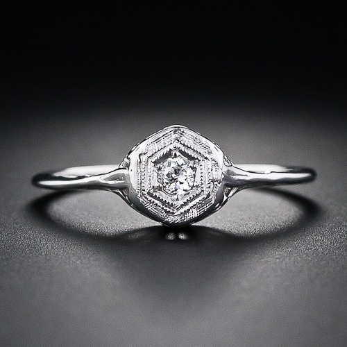 Tiny Filigree Diamond Ring, Lang Antiques