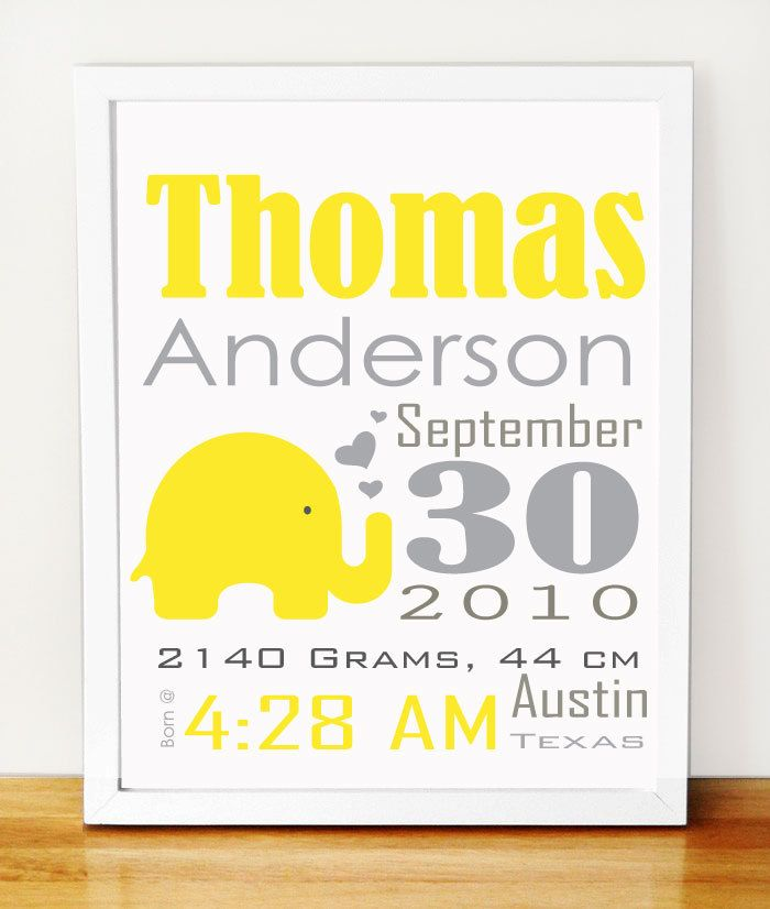 Baby Elephant Birth Announcement,  Yellow and grey nursery wall print A521. $18.00, via Etsy.