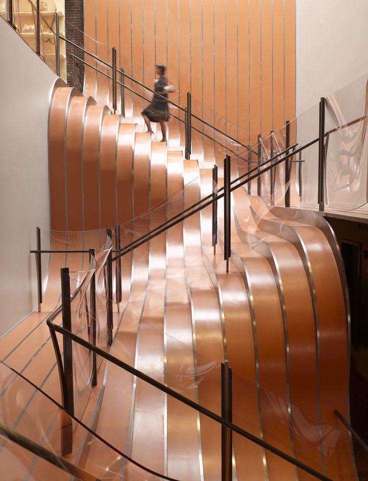 Beautiful, creative caramel colored stairway. La Maison Unique « Heatherwick Studio #candiceolson #interiordesign #homedecor