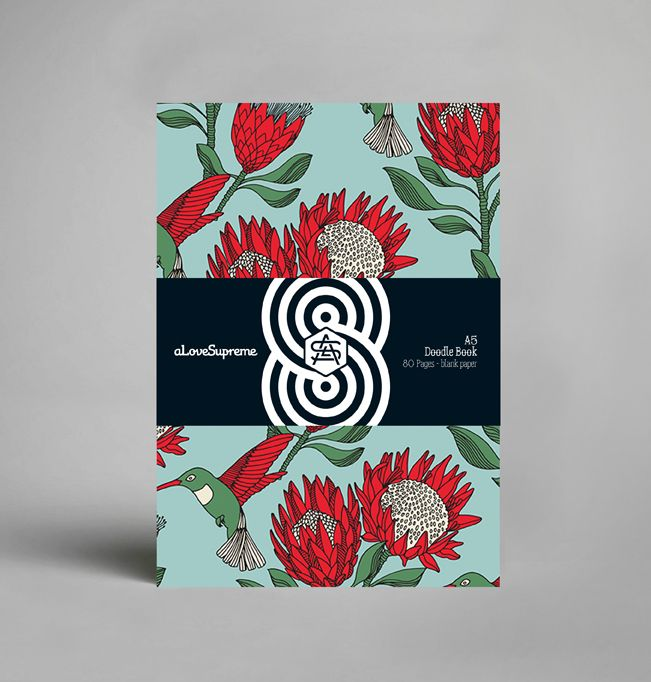 A5 Hardcover notebook in Protea Blue design, filled with 80 blank pages…