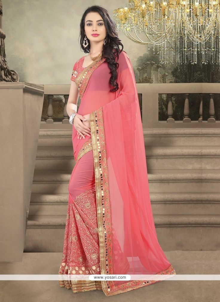 Celestial Pink Embroidered Work Designer Saree Model: YOSAR6813