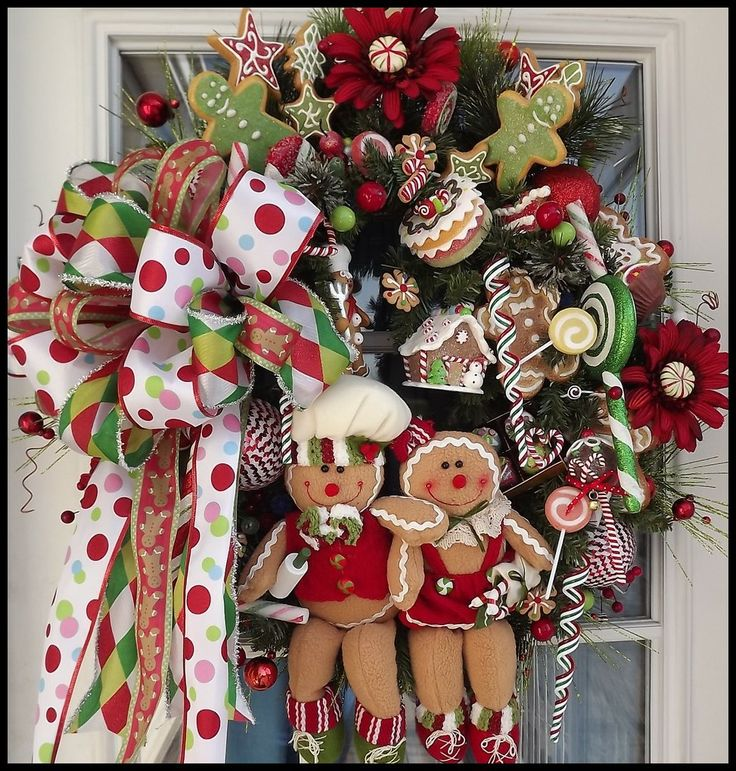 """Gingerbread Delight"" Christmas wreath for front door is ON SALE NOW! WOW! Early Black Friday Sale! PLUS FREE SHIPPING in the USA! :)"