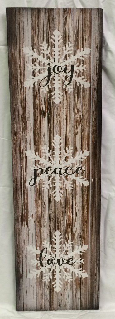 Joy Peace Love Wood Sign or Canvas Wall Art Christmas Decor
