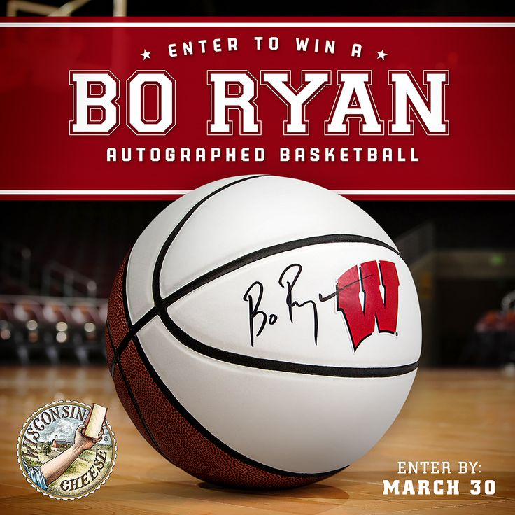 UW-Madison Badger men's basketball fan? Enter to win a signed basketball from Bo Ryan! Just visit our Facebook page to enter: https://www.facebook.com/WisconsinCheese