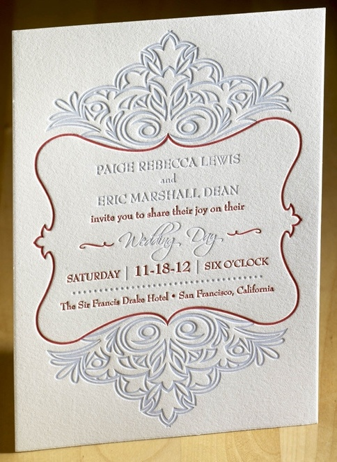 Majestic Letterpress Wedding Invitation