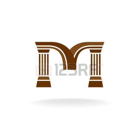 letra m: Carta logo M con columnas. Arquitectura, negocio, el concepto de abogado. Vectores