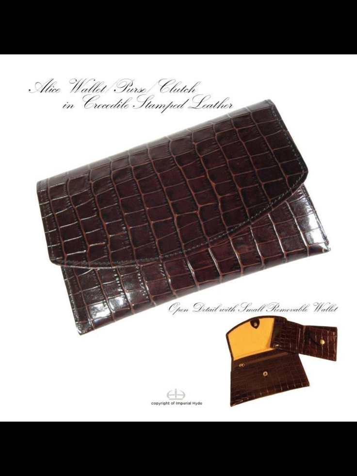 Alice Clutch Wallet in Croc Look Patent Leather  Chocolate Only. Imperialhyde.com.au